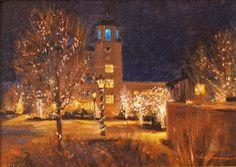 """""""Broadmoor Holiday"""" l 5x7 I Dix Baines I Fine Artist l Original Oil Paintings I Christmas l Broadmoor l Lights l Winter l www.dixbaines.com"""