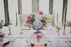 Elegant Watercolor Wedding Decor | Ellie Asher Photo | Dreamy Mountain Lodge Wedding in Fuchsia and Mint