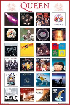 This maxi poster showcases the covers of the band's album. You will find here unmissable albums such as Innuendo, Live at Wembley, Sheer Heart Attack, Queen II and the Return of the Champions. Which is your favourite Queen album? Our Maxi Poster Queen Album Covers, Rock Album Covers, Queen Ii, I Am A Queen, Rock And Roll, John Deacon, Albums Queen, Queen Rock, Bryan May