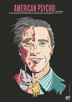 Christian bale as the American Psycho Horror Movie Posters, Best Movie Posters, Cinema Posters, Movie Poster Art, Horror Films, Horror Art, Badass Movie, Epic Movie, American Psycho Movie