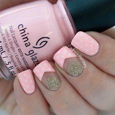 Pink Polka Dots Nails by Paulina's Passions