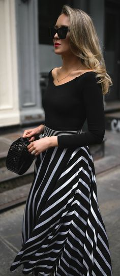 SPRING FAVORITES // black and white striped maxi skirt, black off the shoulder bodysuit, black embellished mule pumps, black oversized cat-eye sunglasses, black straw clutch {Diane von Furstenberg, DVF, Alice and Olivia, Le Specs, Cult Gaia, spring style, classic outfits, fashion blogger, nyc}