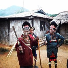 Meet the Konyak headhunters of Longwa. We met these three hill-tribesmen at the funeral of their friend high up in the mountains of Nagaland. We were privileged to attend the ceremony; in this shot the men are improvising a song about the deceased while they dance their way to the house to pay their final respects. Each head on the necklaces represents a head taken in battle- only a handful of these headhunters remain since the practice was outlawed thirty years ago #tribes #nagaland #longwa…