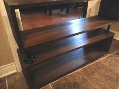 Rustic and Industrial, Wood and Steel Pipe Bookshelf or TV stand