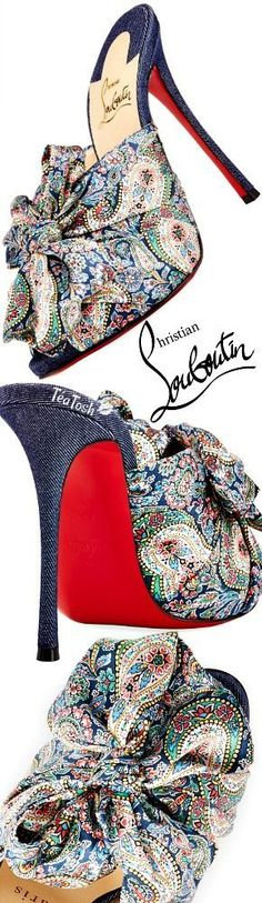 ❈Téa Tosh❈ Christian Louboutin, Moniquissima Paisley Red Sole Slide Sandal