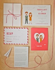 Vintage Illustrated Airplane Wedding Invitation - Printable Design. $74,00, via Etsy.