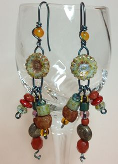 Czech glass flower bead and niobium earrings by GingerandNoise, $22.00