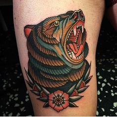 Image result for american traditional bear tattoo