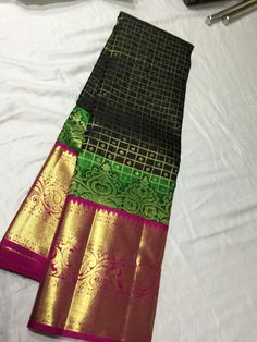 Pure Kanchipuram Handloom Silk with double side stitching border and fancy border top design Offer price :14500+shipping  Order what's app 7093235052