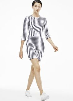 b16002117c3 Nautical crew neck dress in jacquard Robe Jupe