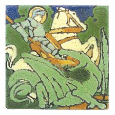 """Grueby Pottery, tile, knight on horse slaying dragon, 6""""sq   