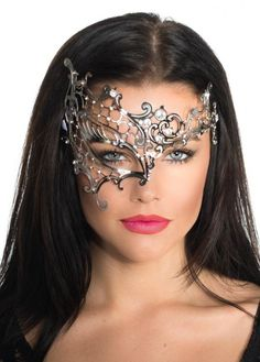 Divine women's half face silver metal masquerade mask by Elevate. This top quality women's silver metal masquerade mask features a laser cut filigree design with sparkling crystals to decorate, ideal for any elegant masquerade mask party. See below for fu Elegant Masquerade Mask, Silver Masquerade Mask, Masquerade Theme, Masquerade Dresses, Masquerade Wedding, Black Masquerade Dress, Masquerade Makeup, Mask Online, Beautiful Mask