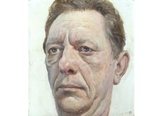 "Stuart Pearson Wright ""The Hungarian""  Oil on Gesso on Oak, 2000 85 x 105 mm"