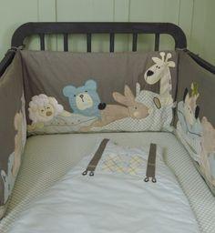 tour de lit taupe motifs doudous animaux pour lit bébé 60 x120 ou 70x140 cms