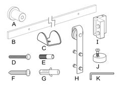 Included in the Kit: A Stand-off Bracket B Rail C Floor Door Guide D Bolt E Bolt Wall Anchor F Log Bolt G Log Bolt Wall Anchor H Roller I Stopper J Anti Jump K Allen Wrench Optional: Handle and Lock Steel Doors, Wood Doors, Barn Door Designs, Double Barn Doors, Wall Anchors, Safety Glass, Glass Texture, Barn Door Hardware, Entry Doors