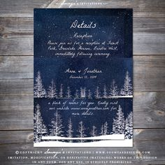 Winter Night Wedding Invitation, Starry Night Wedding Invitation, Winter Landscape Wedding Invitation, Winter Wonderland Wedding Invitation, Pine Trees Wedding Invitation, Winter Forest Wedding Invitation, Navy Blue Wedding Invitation, Snow Trees Wedding Invitation by Soumya's Invitations
