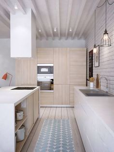 Contemporary Kitchen: Light wood and light cabinets #kitchen