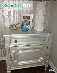 make over an old night stand or side table by painting it a metallic color