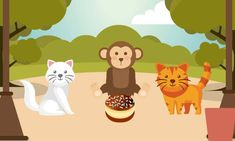The Moral story, two cats and a Monkey, teaches a valuable lesson to children about the bad consequence of arguing and fighting. English Grammar For Kids, English Stories For Kids, Moral Stories For Kids, English Story, Baby Music, Word Families, Teaching Materials, Morals, Monkey