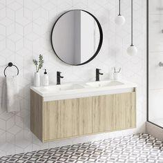 Ebern Designs Gizi Wall-Mounted Double Bathroom Vanity Set with Mirror Base Finish: Ginger Wood Vanity Set With Mirror, Wall Mounted Vanity, Bathroom Vanity Cabinets, Bathroom Furniture, Bathroom Vanities, Pallet Furniture, Modern Bathroom, Small Bathroom, Bathroom Ideas