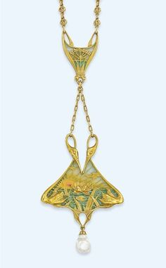 AN ART NOUVEAU PLIQUE-À-JOUR ENAMEL PENDANT, BY LUCIEN GAUTRAIT, RETAILED BY BOUCHERON - Designed as two opposed stylised swans, their curling necks forming pendant loops, their bodies framing a plique-à-jour panel depicting the sun setting over a lake with central lily-pad accent, suspending a single pearl drop, to a belcher link chain and further plique-à-jour enamel panel surmount with cow parsley motif, suspended from a fancy-link neckchain, after 1890.