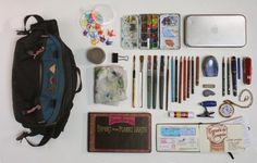 """James Gurney: """"In my urban sketching kit, I bring art supplies that are totally cross-compatible: a fountain pen, water-soluble colored pencils and graphite pencils, water brushes (one with water and a couple others with water-soluble colored inks), a small Schmincke watercolor pan set, and a few tubes of gouache."""""""