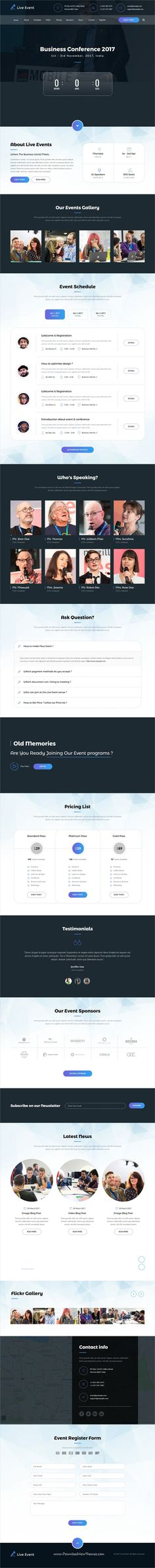 Live Event is clean and modern design responsive #Adobe #muse template for #conference and meetup website download now..
