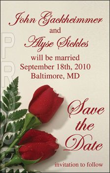 Two roses small wedding save the date magnet