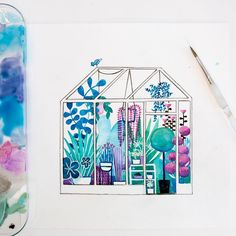 Greenhouse illustration sketchbook Ellie Bramble (@elliebramble) on Instagram