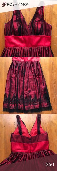 David's Bridal Dress Beautiful red and black midi dress. Black mesh over red. Beading and sequins along hem. Never worn, no tags David's Bridal Dresses