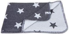 Babydecke Strickdecke Sterne 90 x 75 cm, Anthrazit / Grau