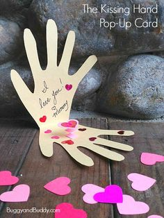 If you are a fan of The Kissing Hand, you'll love these hand-shaped, pop-up cards! These are perfect for making together with kids and would be sweet little notes to put in your child's lunch box too!