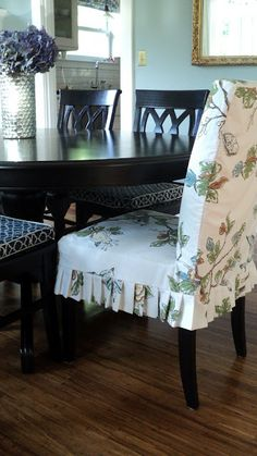 Living in the Rain Garden: Making Henriksdal (IKEA) Chair Slipcover's from Shower Curtain Furniture Slipcovers, Dining Chair Slipcovers, Diy Furniture, Furniture Design, Chair Cushions, Modern Furniture, Pillows, Dining Room Chair Covers, Dining Room Chairs