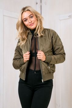 """So its called the """"Kylie J bomber jacket - Khaki"""" for a reason! Miss Kylie jenner is a bomber jacket fan! The style features a quilted style pattern,zipper front,contrast ribbed cuffs,hemline and neck and on trend khaki colour! Style it over your gym tights and sneakers! Size 8, Length:57cm/22inchesWidth:45cm/17inches Cotton/Polyester Cold Hand Wash Only Model wears a size 8 Model's height 174cm  Prints may vary Imported A slight variation may occur in colours and size specifications…"""