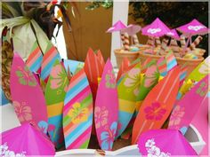 Awesome surfboard decorations at a Luau birthday party! See more party ideas at CatchMyParty.com!