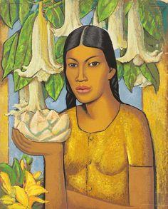 Alfredo Ramos Martinez, Indian Girl with Trumpet Flowers, c.1932.