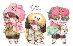 V Chibi, Chibi Food, Cute Chibi, Jikook, Jimin Fanart, Kpop Fanart, Vmin, Bts Jungkook, Namjoon