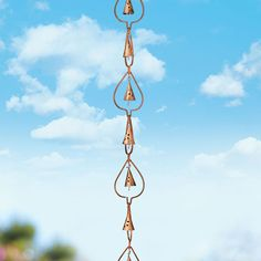 The meditating sounds of a rain chime…Our copper-plated steel 8' adjustable rain chain is a beautiful and functional alternative to a traditional gutter downspout.