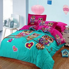 Owl girls bedding set 4/3 pieces 100% cotton
