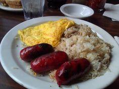 Filipino Bfast: longsilog (longanisa, eggs to order & garlic fried rice) - good stuff! Longanisa, Filipino Breakfast, Philippine Cuisine, Garlic Fried Rice, American Breakfast, Filipina, Seattle, Sausage, Target