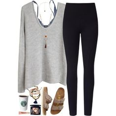 Cozy outfit for a relaxed day by lilypackard on Polyvore featuring Lyssé Leggings, Hanky Panky, Birkenstock, Violeta by Mango, Chan Luu, Christian Dior, Too Faced Cosmetics and Helmut Lang