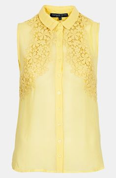 Topshop Crochet Chiffon Blouse (Petite) available at #Nordstrom