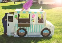 Cardboard Ice Cream Truck, perfect for play and parties.