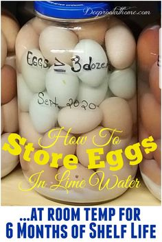 How to Store Eggs at Room Temp for 6 Months Shelf Life in Lime Water.  #recipe #recipes #healthy #health #food #ideas #tips #eggs #storageideas #diy #pantry #cooking #baking #raw #fresh #chickens #preserving #farming #kitchen #vintage #40s #50s #prepared #plans #natural #wellness #history #storage #emergency #survival #homesweethome #healthyfood #healthyliving #healthylifestyle #home #safety #lifestyle #life #planning #family #children #homemaking #shopping #store #hens #productive Pickled Eggs, Duck Eggs, Root Cellar, Shelf Life, Preserving Food, Homemaking, Are You Happy, 6 Months, Healthy Lifestyle