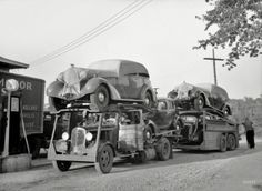 """May 1936, somewhere in Indiana. """"Auto transport at gas station."""""""