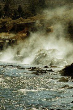 The Boiling River in the Mammoth Hot Springs Area in Yellowstone National Park, creates a unique hot spring and it only takes a short hike to reach.