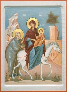 Order a painted icon of the Flight into Egypt. Icon painting studio of St Elisabeth Convent will paint an Orthodox Icon of any size and difficulty Byzantine Icons, Byzantine Art, Religious Icons, Religious Art, Greek Icons, Paint Icon, Religion, Russian Icons, Biblical Art