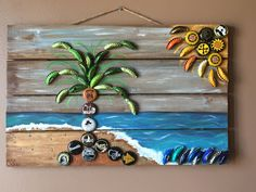 Elegant Seaside Scape Bottle Cap Artwork on high of a Picket Pallet/ Maryland usa www. Bottle Top Art, Diy Bottle, Bottle Crafts, Beer Cap Art, Beer Bottle Caps, Beer Cap Crafts, Bottle Cap Projects, Reuse Plastic Bottles, Diy And Crafts