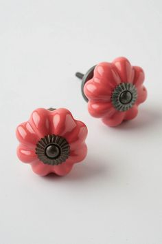 Coral-colored glass knobs. These would look great on the dresser I repainted in the guest room.