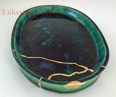 Japanese Suiban, Oribe yu glaze, made by Shigeru Fukuda of the Bushuan Kiln